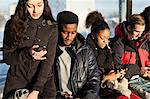 Group of multi ethnic friends using mobile phones Stock Photo - Premium Royalty-Free, Artist: Chris Hendrickson, Code: 698-06616246