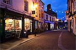 Independent shops and Christmas lights on Kirkgate, Ripon, North Yorkshire, Yorkshire, England, United Kingdom, Europe Stock Photo - Premium Rights-Managed, Artist: Robert Harding Images, Code: 841-06616995