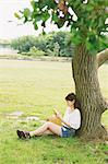 Woman Reading a Book Under Tree Stock Photo - Premium Rights-Managed, Artist: Aflo Relax, Code: 859-06617459