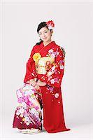 Girl In Kimono Posing Stock Photo - Premium Rights-Managednull, Code: 859-06617609