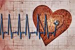 Rusty heart over EKG with stethoscope Stock Photo - Premium Royalty-Free, Artist: Robert Harding Images, Code: 618-06618007