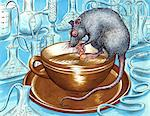 Rat drinking Coffee Stock Photo - Premium Royalty-Free, Artist: Robert Harding Images, Code: 618-06618075
