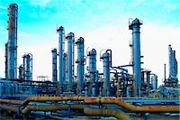 pipe (industry) - petrochemical plant at dusk Stock Photo - Premium Royalty-Freenull, Code: 618-06618467