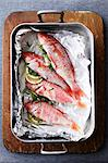 Pan of mullet fish with lemon and herbs Stock Photo - Premium Royalty-Free, Artist: ableimages, Code: 649-06622141