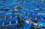 Blue boats docked in harbor Stock Photo - Premium Royalty-Free, Artist: Ikon Images, Code: 649-06622273