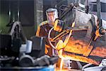 Worker pouring molten metal in foundry Stock Photo - Premium Royalty-Free, Artist: Blend Images, Code: 649-06622821