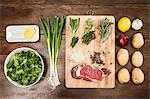 Table with ingredients and seasonings Stock Photo - Premium Royalty-Free, Artist: photo division, Code: 649-06622965