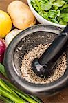 Herbs crushed in pestle and mortar Stock Photo - Premium Royalty-Free, Artist: Cultura RM, Code: 649-06622971