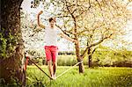 Man walking on tightrope in field Stock Photo - Premium Royalty-Free, Artist: Blend Images, Code: 649-06623011