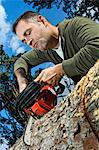 Man sawing log Stock Photo - Premium Rights-Managed, Artist: F1Online, Code: 853-06623201