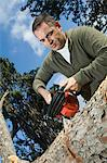 Man sawing log Stock Photo - Premium Rights-Managed, Artist: F1Online, Code: 853-06623203