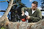 Man sawing log Stock Photo - Premium Rights-Managed, Artist: F1Online, Code: 853-06623204