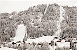 Houses and chairlift on snowy mountain Stock Photo - Premium Royalty-Free, Artist: Janet Foster, Code: 614-06624547