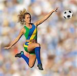Brazilian soccer player in mid-air Stock Photo - Premium Royalty-Free, Artist: Aflo Sport, Code: 614-06625337
