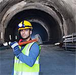 Worker holding sledgehammer in tunnel Stock Photo - Premium Royalty-Free, Artist: Aflo Relax, Code: 6113-06625909