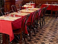 red chair - tables set with red tablecloths, wine glasses and cutlery in restaurant, Paris, France Stock Photo - Premium Rights-Managednull, Code: 700-06626975