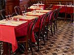 tables set with red tablecloths, wine glasses and cutlery in restaurant, Paris, France Stock Photo - Premium Rights-Managed, Artist: Michael Mahovlich, Code: 700-06626975