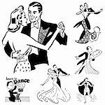 Vector Retro Ballroom Dancing Graphics. Great for any vintage or retro design. Stock Photo - Royalty-Free, Artist: createfirst                   , Code: 400-06627461
