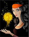 Fortune-teller  with a gold magic ball Stock Photo - Royalty-Free, Artist: shinshilla                    , Code: 400-06627499