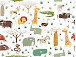 Grunge African Animals Seamless Pattern is repeated; with vegetation and a lot of animals. Illustration is in eps 10 vector mode. Stock Photo - Royalty-Free, Artist: vook                          , Code: 400-06627999