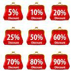 Red purse with Discount. Illustration on white background for design Stock Photo - Royalty-Free, Artist: dvarg                         , Code: 400-06628150