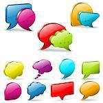 Set Speech and Thought Bubbles, social media concept, easy to change colors, vector illustration Stock Photo - Royalty-Free, Artist: TAlex                         , Code: 400-06628544