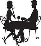 A couple in silhouette sitting at a table, conversing and drinking from stemmed glasses. Stock Photo - Royalty-Free, Artist: mkoudis                       , Code: 400-06628600