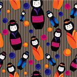 seamless background with kokeshi dolls Stock Photo - Royalty-Free, Artist: Veronika_Rumko                , Code: 400-06628623