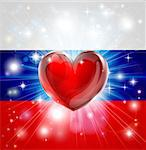 Flag of Russia patriotic background with pyrotechnic or light burst and love heart in the centre Stock Photo - Royalty-Free, Artist: Krisdog                       , Code: 400-06628663