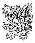 Heraldry style griffin illustration isolated on white Stock Photo - Royalty-Free, Artist: moenez                        , Code: 400-06628796