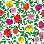 Seamless flower background with colorful rose and leaves, element for design, vector illustration. Stock Photo - Royalty-Free, Artist: svetap                        , Code: 400-06628900