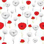 Flower seamless background. Poppy vector. Art border pattern. Floral vintage design. Pretty cute wallpaper. Feminine filigree Stock Photo - Royalty-Free, Artist: svetap                        , Code: 400-06628986