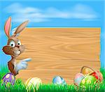 Easter bunny with Easter Eggs and blank wooden sign for your text Stock Photo - Royalty-Free, Artist: Krisdog                       , Code: 400-06628990