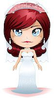 A vector illustration of a bride dressed for her wedding day. Stock Photo - Royalty-Freenull, Code: 400-06629392