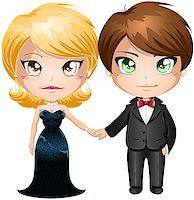 A vector illustration of a man and woman dressed in elegant evening wear. Stock Photo - Royalty-Freenull, Code: 400-06629393