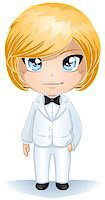 A vector illustration of a groon dressed in white suit for his wedding day. Stock Photo - Royalty-Freenull, Code: 400-06629395