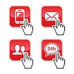 Red contact buttons with pixelated cursor hand Stock Photo - Royalty-Free, Artist: RedKoala                      , Code: 400-06629397