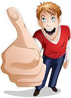 A vector illustration of a young guy giving a thumbs up and smiling. Stock Photo - Royalty-Freenull, Code: 400-06629423