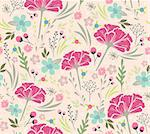 Seamless floral pattern. Background with flowers and leafs. Stock Photo - Royalty-Free, Artist: lapesnape                     , Code: 400-06629560