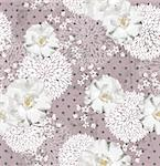 Seamless pattern with flowers  Floral background with roses and cherry blossom Stock Photo - Royalty-Free, Artist: lapesnape                     , Code: 400-06629564