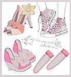 Fashion shoes set Stock Photo - Royalty-Free, Artist: lapesnape                     , Code: 400-06629585