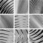 Abstract textured backgrounds set in op art design. No gradient. Vector set.