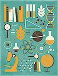 A set of science and education icons in vintage style. Stock Photo - Royalty-Free, Artist: ivaleksa                      , Code: 400-06629921
