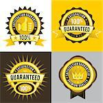 Satisfaction Guaranteed and Premium Quality Vector golden labels, signs, emblem, and insignia.  Very useful for sales and marketing labels. Stock Photo - Royalty-Free, Artist: escova                        , Code: 400-06629963