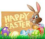 An Easter rabbit with a basket of chocolate Easter eggs next to a sign that says Happy Easter Stock Photo - Royalty-Free, Artist: Krisdog                       , Code: 400-06630167