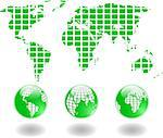 the vector green world map and globe eps 8 Stock Photo - Royalty-Free, Artist: sdmix                         , Code: 400-06630651