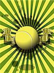 illustration tennis ball on a green background Stock Photo - Royalty-Free, Artist: Brux                          , Code: 400-06631021