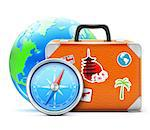 Vector illustration of travel concept with vintage suitcase, blue glossy earth globe and detailed compass Stock Photo - Royalty-Free, Artist: PixelEmbargo                  , Code: 400-06631088