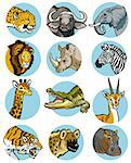 icons set with wild animals of africa Stock Photo - Royalty-Free, Artist: insima                        , Code: 400-06631100
