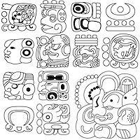 Vector image of ancient Mayan hieroglyphs on white Stock Photo - Royalty-Freenull, Code: 400-06638644